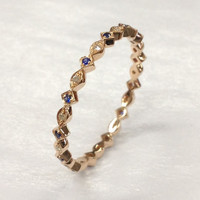 Blue Sapphire Diamond Wedding Band!14K Rose Gold,Anniversary Ring,Width 2.2mm