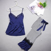 Freshing Summer Spaghetti Strap Women Pajama Set  Nightdress+Long Pant  Set Brand Hight Quality Pajamas