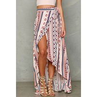Boho Women Ladies Summer Bandage Beach Skirt Party Maxi Swimwear Cover Long Skirt Floral Print Lace up Maxi Women's Shirt