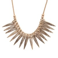 With Love From CA Textured Leaf Statement Necklace - Womens Jewelry - Gold - One