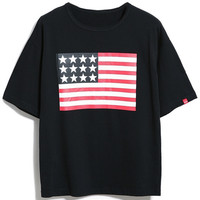 Black American Flag Patch Short Sleeve T-shirt