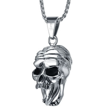 Stainless Steel Gothic Open Mouth Skull with Moving Tongue Pendant Necklace