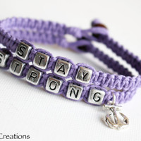Lavender Purple Stay Strong Bracelets, Anchor Charm, Nautical Accessory, Recovery Hemp Bracelets, Set of Two, Stacking Jewelry