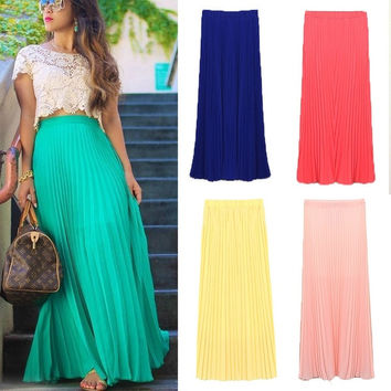 2015 new Summer Autumn Fashion Long Chiffon Skirts Female Candy Color Pleated Maxi Womens Skirts = 1958551044
