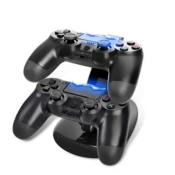 LED Dual USB Charger Charging Dock Stand for PS4 Station Prevent Cover Kit