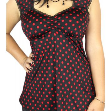 Demi Loon Women's Ladybug Polka Dot Pinup Tunic Top - Black/Red