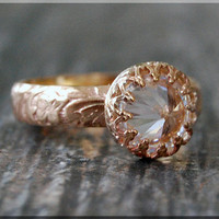 Wide Gold Filled Cubic Zirconia Ring, Floral ring, Solitaire Ring, Thick gold filled ring, Gold filled engagement band, Engagement ring