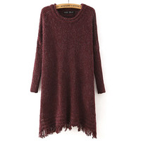 Curling Round Neck Tassel Sweater Dress