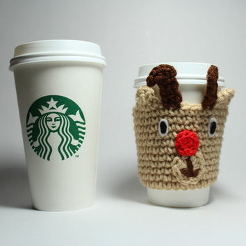 Rudolph coffee cozy, Reindeer coffee sleeve, Holiday Crochet Can Cozy, Christmas Can Cozy, Stocking Stuffer
