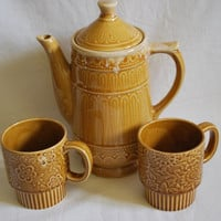 Vintage set for Tea teapot and cups , Japan Brown teapot and cups Kitsh and Flowers