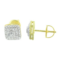 Mens Earrings Square Gold Finish Screw Back Custom Style Elegant Simulated CZ