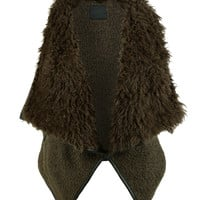 LE3NO Womens Open Front Draped Faux Fur Vest with Pockets (CLEARANCE)