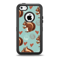 The Vector Love & Nuts Squirrel Apple iPhone 5c Otterbox Defender Case Skin Set
