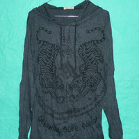 Hoodie Witchcraft Shirt Tiger Magic spell Winter Long sleeve Wrinkled Tee Dark Grey Cotton 100 t shirt Spell Size M/L