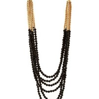 Black Layered Beaded Necklace by Charlotte Russe