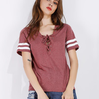 Indian Red  Lace Up Front Stripe Sleeve T-shirt