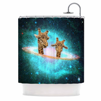 """Suzanne Carter """"Fred & Larry """" Teal Fantasy Shower Curtain"""