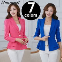 Seven Colors Plus Size Womens Plus Size Long Sleeve Waist Frill Button Blazer Blaser Feminino Peplum Jacket Chaquetas Mujer C573