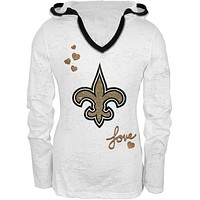 New Orleans Saints - Girls Youth Burnout Hooded Long Sleeve T-Shirt