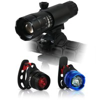 Abco Tech LED Bike Light - Exquisite Design - Headlight and Tail Light Set - Multipurpose High Intensity Triple Mode Front and Tail Waterproof Bike Light - Adjustable Focus Zoom Light - No Tools Needed - Quick Release Mount - Great for Street Mountain and