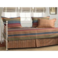 Reversible 5-Piece Daybed Set with Bed-skirt and Three Pillow Shams