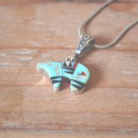 turquoise, coral, jet, and mother of pearl channel inlay spirit bear necklace // vintage zuni necklace // native american