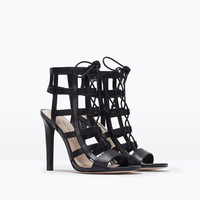Leather high heel wraparound sandals