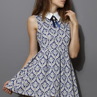 Baroque Print Dress with Contrast Collar