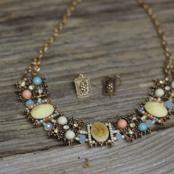 Squares linked with multibeads and stones necklace set {Multi-Colored/Gold}