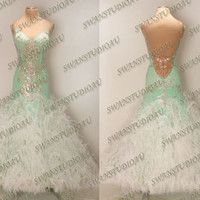 A NEW READY TO WEAR SPEARMINT FEATHER BALLROOM DANCE DRESS S US4-6 WB3313