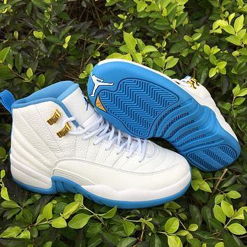 "Air Jordan 12 GS ""University Blue"" AJ12 Women Men Basketball Shoes"