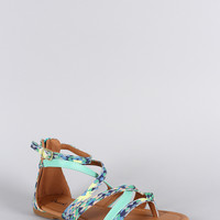 Qupid Tribal Strappy Thong Flat Sandal