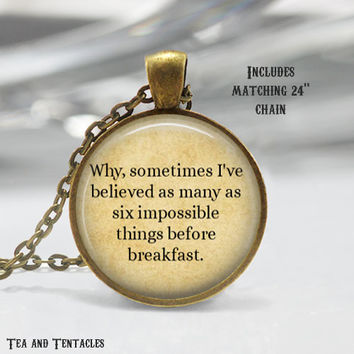 Alice in Wonderland Necklace, Book, Librarian, Mad Here, Quote Pendant, chain included X289