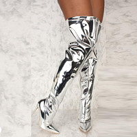 Mirror Chrome Over The Knee Boots