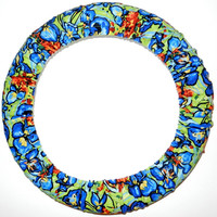 Blue Abstract Floral Steering Wheel Cover, Made in USA, Cute Girly Cotton Car Wheel Cover,Personalized Gift