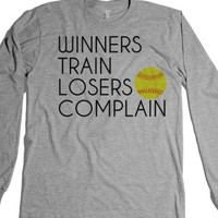 Winners train losers complain Softball