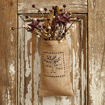 Cherish Family and Friends - Vintage Hanging Burlap Bag Gift Set with Saltbox Berry Bunch (4-in x 7-in)