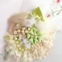 Fiber Art Brooch, Victorian, Green, Easter, Mothers DayTextile, Vintage, Hand Sitiched, French Knots, Lace, Pearls, Burlap, Weddings