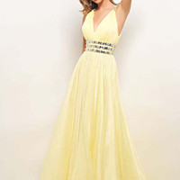 WowDresses — Elegant A-line V-neck Floor Length Prom Dress