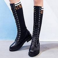 FENDI Autumn Winter Fashion Women Casual Leather Stretch Knit Boots Shoes Martin Boots