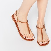 ASOS FEATHER Leather Plait Sandals at asos.com
