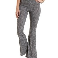 Marled & Ribbed Flare Pants by Charlotte Russe - Gray
