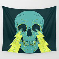 Lightning Skull Wall Tapestry by Chad Landenberger