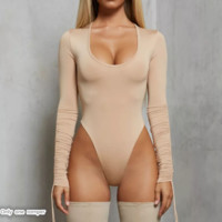 Autumn and winter new fashion fashion round neck stretch long sleeve jumpsuit