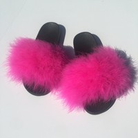 Hot Pink Faux fur slides fuzzy slippers