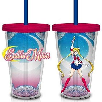 16oz Sailor MoonTumbler Travel Cup GIFT with Lid and Acrylic Straw (BPA-Free)