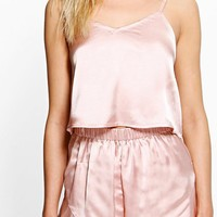 Alice Satin Strap Detail Vest + Short Set | Boohoo