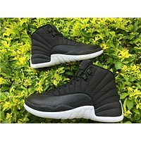 Air Jordan 12 Retro AJ12 Black Nylon Men Basketball shoes US 8-13