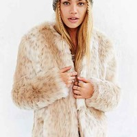 Kimchi Blue Plush Faux-Fur Coat - Neutral Multi