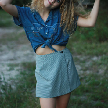 90s Vintage Grunge Tie Up Button Up Cropped Collared Shirt With Elephant Detailing Pattern